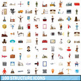 100 structure icons set, cartoon style Stock Images