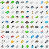100 structure icons set, isometric 3d style. 100 structure icons set in isometric 3d style for any design vector illustration Royalty Free Stock Photo