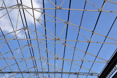 Structure iron roof with blue sky. Stock Photos