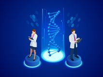 Structure isométrique d'ADN de Digital à l'arrière-plan bleu Concept de la Science Ordre d'ADN, illustration de vecteur de nanote Images stock