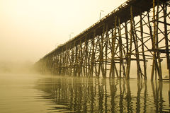 Structure of longest Wooden Bridge Royalty Free Stock Images