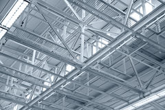 Structure of metal industrial roof Stock Images