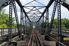 Structure of metal railway bridge Royalty Free Stock Image