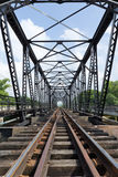 Structure of metal railway bridge Royalty Free Stock Photography