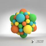 Structure moléculaire avec des sphères vecteur 3d Images stock