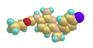 Structure moléculaire de flupirtine d'isolement sur le blanc illustration libre de droits