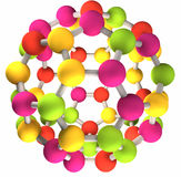 Structure moléculaire de fullerene coloré Photos stock