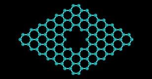 Structure moléculaire de Graphene avec un pore d'isolement sur le noir Photo stock