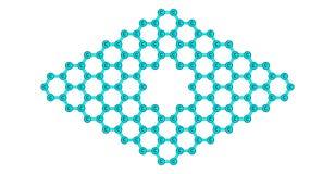 Structure moléculaire de Graphene avec un pore sur le blanc Photographie stock libre de droits