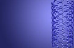 Structure moléculaire de Nanotube sur le fond bleu Image libre de droits