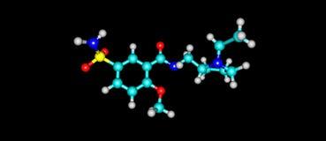 Structure moléculaire de Sulpiride d'isolement sur le noir illustration stock
