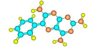 Structure moléculaire de Triamterene d'isolement sur le blanc Photo libre de droits