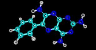 Structure moléculaire de Triamterene d'isolement sur le noir illustration de vecteur