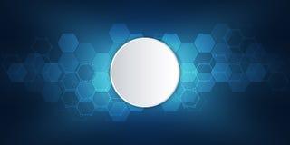 Structure moléculaire et éléments chimiques Fond abstrait de molécules La Science et concept de technologie numérique Vecteur Illustration Libre de Droits