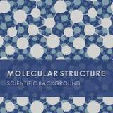 STRUCTURE MOLÉCULAIRE, FOND SCIENTIFIQUE BLEU, MODÈLE MÉDICAL, ADN Photo libre de droits