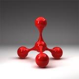 Structure moléculaire lustrée rouge Photos stock