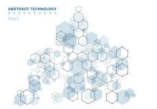 Structure mol?culaire hexagonale bleue de r?sum? de syst?me de neurones Fond de technologie num?rique Futur calibre g?om?trique illustration stock
