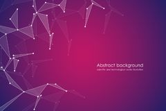 Structure of molecular particles and atom, polygonal abstract background, technology and science concept, vector. Illustration Stock Photos