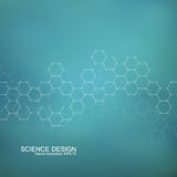 Structure molecule of DNA and neurons. Structural atom. Chemical compounds. Medicine, science, technology concept Royalty Free Stock Image