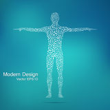 Structure molecule of man. Abstract model human body DNA . Medicine, science and technology.  Royalty Free Stock Image