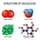 Structure of molecules. Oxygen gas, water liquid, salt solid and sugar glucose