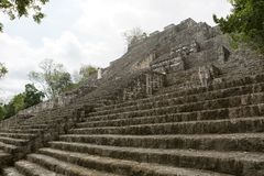 Structure number one at Calakmul Mexico. Massive volume of structure number one at Calakmul Mexico archeological site royalty free stock photography