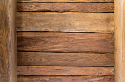 Structure of obsolete wooden. Structure of old wooden ceiling of a background, brown stock image