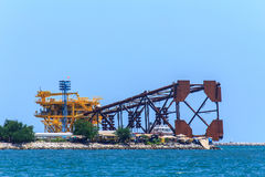 Structure Oil platform in assembly factory. Royalty Free Stock Photography