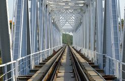 Structure of old railway bridge across river Stock Photography