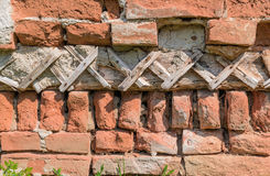 Structure in an old wall. It is an old house in which no one lives for a few years Stock Photo