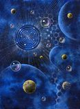 Abstract picture with planets and bubbles Royalty Free Stock Images