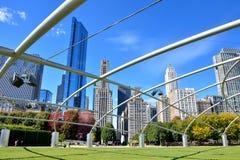 Structure of Pritzker Pavilion at Millennium park, Chicago. City buildings and Pritzker Pavilion at Millennium Park in Chicago.  Photo taken in October 5th, 2014 Stock Photography