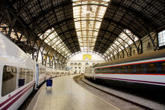 Structure and roof of the train station. Royalty Free Stock Photos