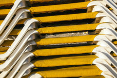 Structure of stapled beach loungers at the beach Royalty Free Stock Photos