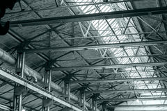 Structure steel frame of industrial roof with skylights Royalty Free Stock Photo