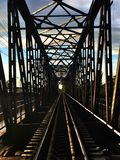 The structure, steel, railway rails, bridges Royalty Free Stock Photos