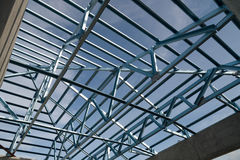 Structure of steel roof. Stock Photos