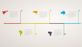 Structure timeline with world map Royalty Free Stock Photo