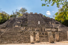 Structure Two in Calakmul. View of pyramid known as structure two in the Mayan ruins of Calakmul, Mexico royalty free stock photography