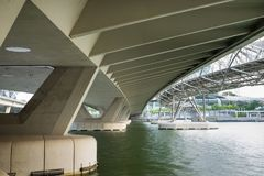 Structure under bridge of Bayfront Ave at Marina Bay in Singapore.  Royalty Free Stock Image
