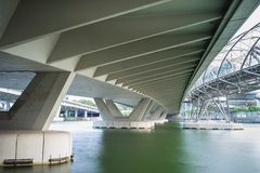 Structure under bridge of Bayfront Ave at Marina Bay in Singapore.  Royalty Free Stock Photo