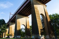 Structure under the Hell Gate Bridge with blue sky, Astoria park Royalty Free Stock Photography