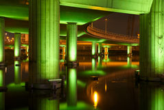 Structure under motorway at night Royalty Free Stock Photos