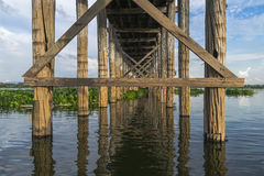 Structure under  u bein  bridge. Structure Under the U Bein Teakwood Bridge , Amarapura in Myanmar , (Burma Royalty Free Stock Photography