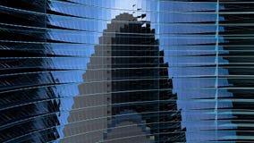 Structure verre-métal bleue moderne avec la rotation de fenêtres d'onde sinusoïdale 3d rendent Illustration Libre de Droits