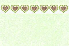 Structure verte de papier de conception avec la frontière de coeur Photos libres de droits