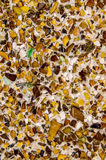 Structure of wall with small pieces of recycled glass Royalty Free Stock Images