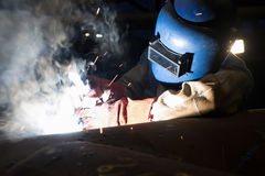 Welding work. Structure welding work and iron Royalty Free Stock Photography