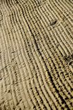 The structure in wet sand on a beach. Soon morning Royalty Free Stock Photography