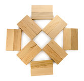 Structure of wooden bricks, looks like flower or sun Stock Photos